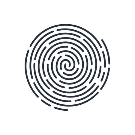 Icono de escaneo de huellas dactilares biométrico redondo abstracto. Concepto de seguridad en blanco