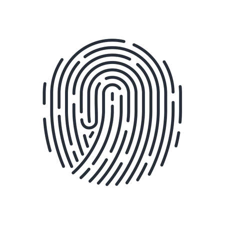 Abstract Round Fingerprint Icon Detailed for Simple Security ID on White