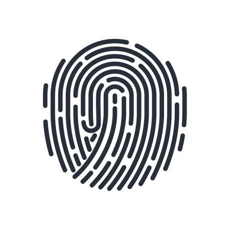 Round Bio-metric Fingerprint Icon Detailed for Abstract Security ID on White Background