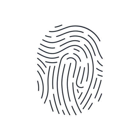 Bio-metric Fingerprint Icon Detailed for Identification System on White Background