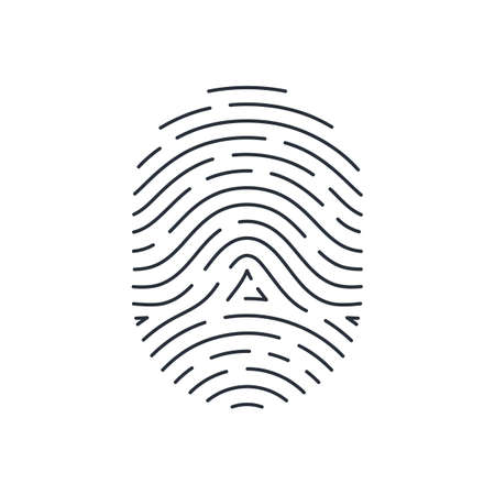 Touch Id Illustration. Fingerprint Identification System, Isolated on White Background. Fully Editable
