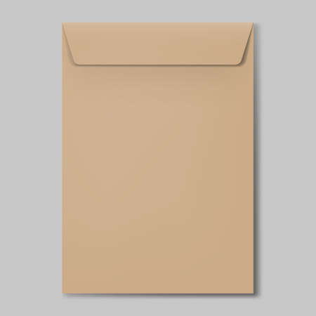 Closed Brown Empty Envelope for Letters and Documents. Mockup Post Blank Envelope on Soft Gray Background Vettoriali
