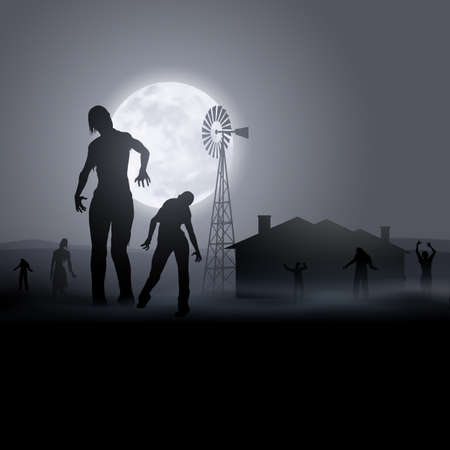 Zombie Walking out From Abandoned House at Night. Silhouettes Illustration for Halloween Creative Poster Vektorové ilustrace