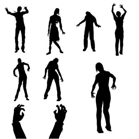 Set of Zombie Male and Female Black Silhouette. Isolated on White Background