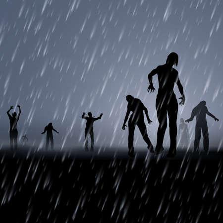 Zombie marchant la nuit par temps de pluie. Illustration de silhouettes noires pour Halloween Creative Poster