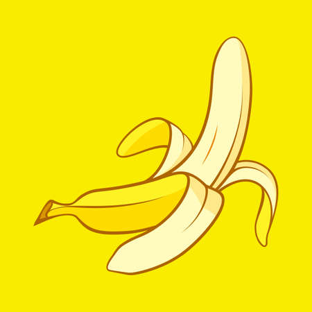 Cartoon Peeled Banana Icon. Snack Concept Illustration can be Used for Topics like Food, Diet, Healthy Eating on Yellow Background