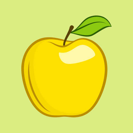 Yellow Granny Smith Apple Fruit with Leaf Flat Icon for Food Apps and Websites on Yellow Background
