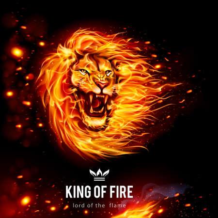 Cabeza de León agresivo en llamas. Rey de fuego. Ilustración sobre fondo negro Ilustración de vector