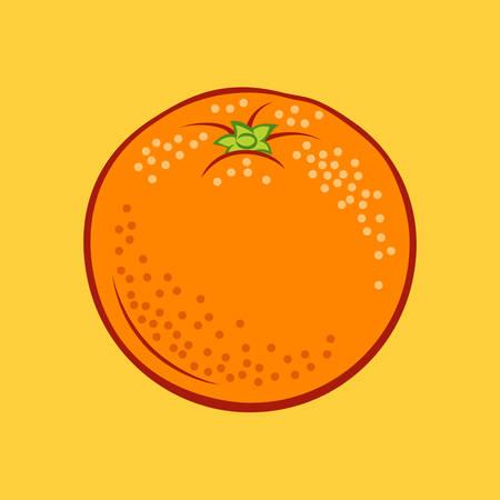 Illustration of Juicy Stylized Orange Citrus Fruit. Icon for Food Apps and Web