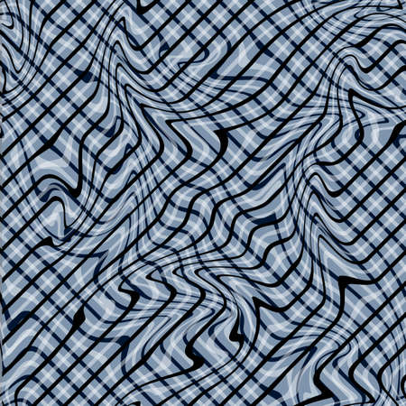 Abstract Illustration of Wave Stripes on Black and Gray Background with Geometric Pattern and Visual Distortion Effect. Optical illusion and Curved lines. Op art