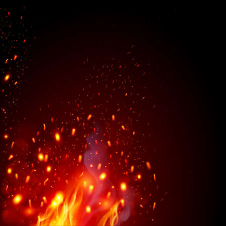 Flying Fiery Sparks with Fire. Burning Fire Flames Elements for Design. Glowing particles