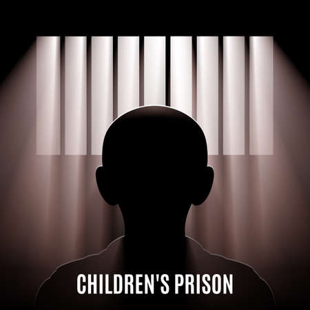 Illustration of a Child Behind Bars. Children Affected Emotional and Physical Abuse. World Day Against Child Labour. Important day