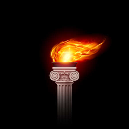 Illustration of a Flaming Torch Based on the Torches of Ancient Greece and Rome on Black Background