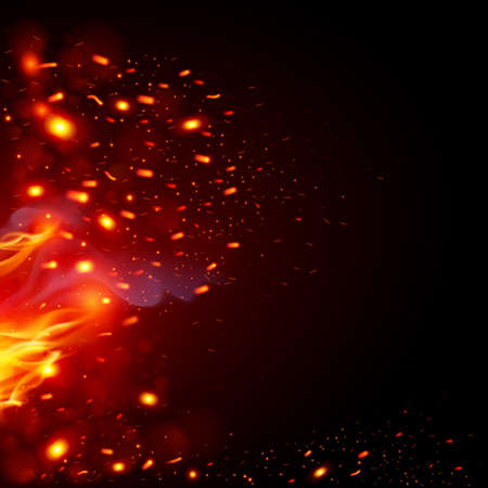 Flying Fiery Sparks with Fire. Burning Fire Flames Elements for Design Иллюстрация
