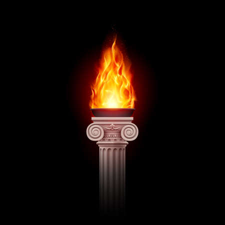 Illustration of a Flaming Torch Based on the Torches of Ancient Greece and Rome in the Dark