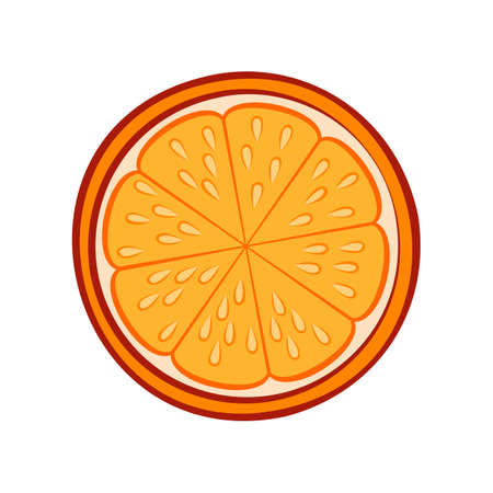 Illustration of Juicy Stylized Half Orange with Peel. Icon for Food Apps and Stickers Isolated on a White Background