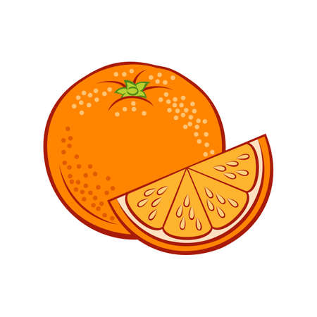 Illustration of Juicy Stylized Whole and Slice Orange. Icon for Food Apps and Stickers Isolated on a White Background