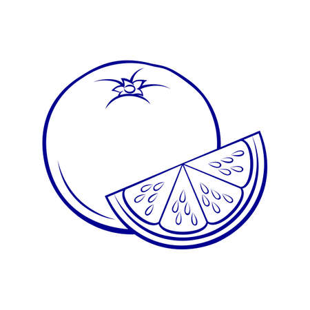 Illustration of Stylized Whole and Slice Orange. Icon for Food Apps Isolated on a White Background
