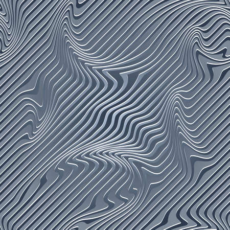 Abstract Illustration of Wave Stripes. Blue and Gray Striped Background with Geometric Pattern and Visual Distortion Effect. Optical illusion and Curved lines. Op art.