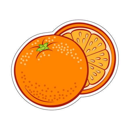 Illustration of Colorful Juicy Stylized Whole and Half Orange Sticker. Icon for Food Apps and Stickers Isolated on a White