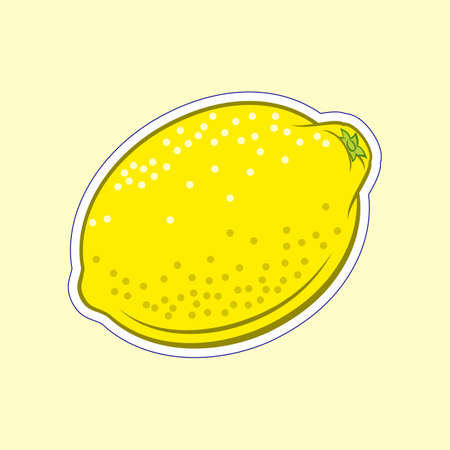 Illustration of Juicy Stylized Lemon Citrus Fruit. Icon for Food Apps and Stickers Isolated on a Yellow Background Иллюстрация