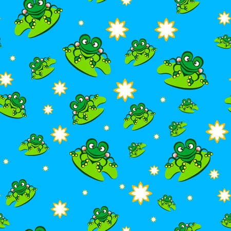 Seamless Pattern with Green Frog in Caricature Cartoon Style on the Green Leaf. Cute Cartoon Animals Background