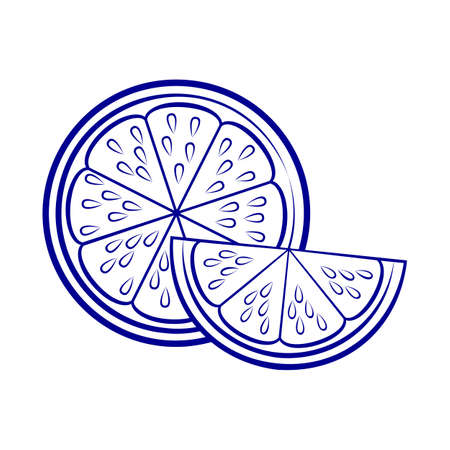 Illustration of Silhouette with Stylized Half Lemon and Slice. Icon for Food Apps and Stickers Isolated on a White Background Иллюстрация