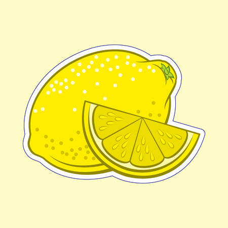 Illustration of Juicy Stylized Whole and Slice Lemon Sticker. Icon for Food Apps and Stickers Isolated on a Yellow Background