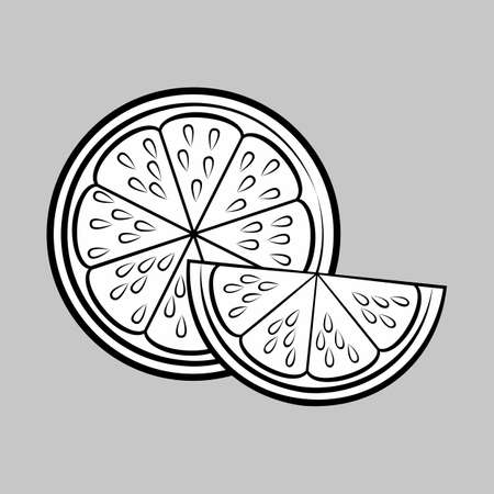 Illustration of Silhouette with Stylized Half Lemon and Slice. Icon for Food Apps and Stickers Isolated on a Gray Background