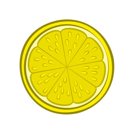 Illustration of Juicy Stylized Half Lemon with Peel. Icon for Food Apps and Stickers Isolated on a White Background Illustration