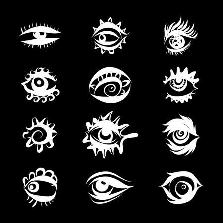 Set of Hand Drawn Different Eyes Icons. Monochrome Supervision and View Symbols Isolated on Black Background Иллюстрация