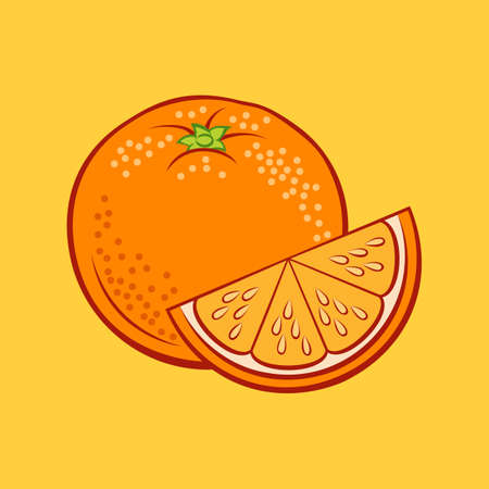 Illustration of Juicy Stylized Whole and Slice Orange. Icon for Food Apps and Stickers Isolated on a Yellow Background Иллюстрация
