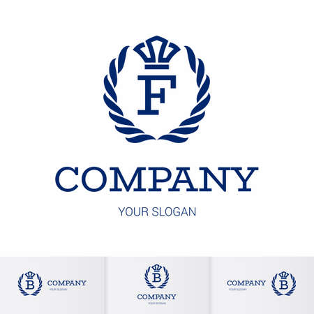 Illustration of Luxury Vintage Crest Logo with letter F in the Middle and Luxury Crown. Calligraphic Royal Emblems and Elements Logo Icon Template on White Background Ilustração