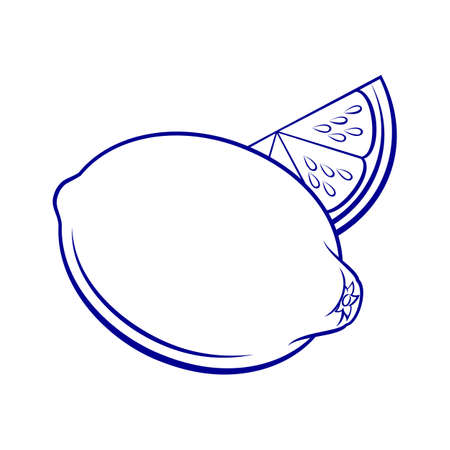 Illustration of Stylized Whole and Slice Lemon. Icon for Food Apps Isolated on a White Иллюстрация