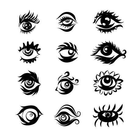 Collection of Hand Drawn Different Eyes Icons. Monochrome Drawing Elements Isolated on White