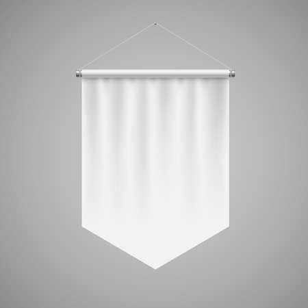 Vertical White Pennant Hanging on a Gray Wall. Empty Template Illustration of Award Flag Symbol Mockup Иллюстрация
