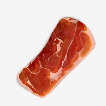 Thin Slice of Spanish Serrano Ham. Delicious traditional gourmet aromatic Dry Cured Pork Ham Slice