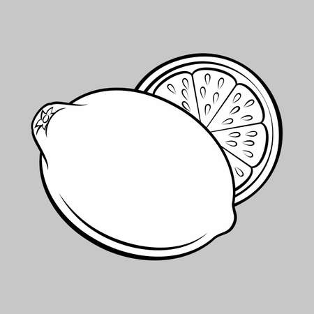 Illustration of Whole and Half Lemon. Monochrome Icon for Food Apps and Stickers Isolated on a Gray Иллюстрация