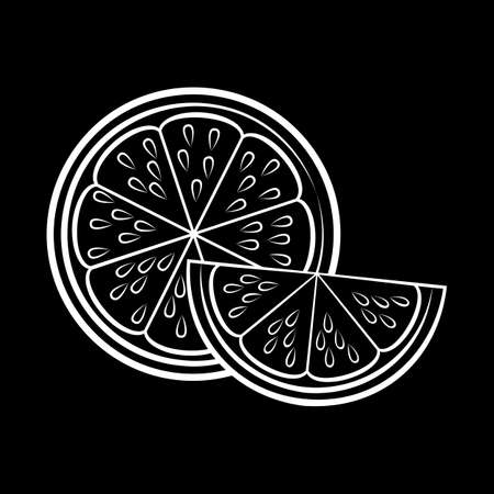 Illustration of Silhouette with Stylized Half Lemon and Slice. Icon for Food Apps and Stickers Isolated on a Blackboard