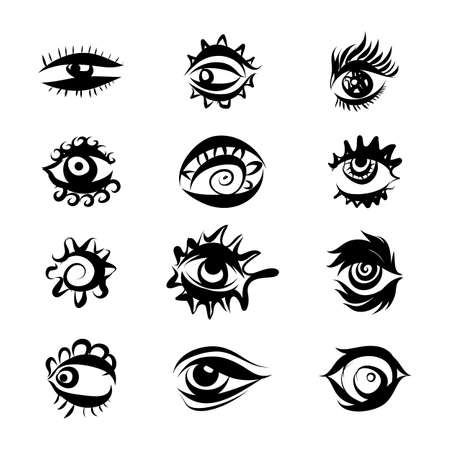 Set of Hand Drawn Different Eyes Icons. Monochrome Supervision and View Symbols Isolated on White Background
