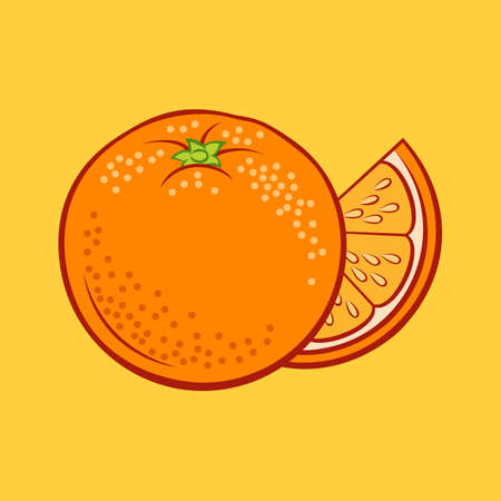 Illustration of Juicy Stylized Whole and Slice Orange. Icon for Food Apps and Stickers on a Yellow Background
