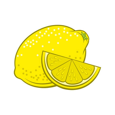 Illustration of Juicy Stylized Whole and Slice Lemon. Icon for Food Apps and Stickers Isolated on a White Background