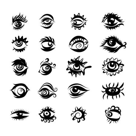 Collection of Hand Drawn Different Eyes Icons. Monochrome Supervision and View Symbols Isolated on White Background