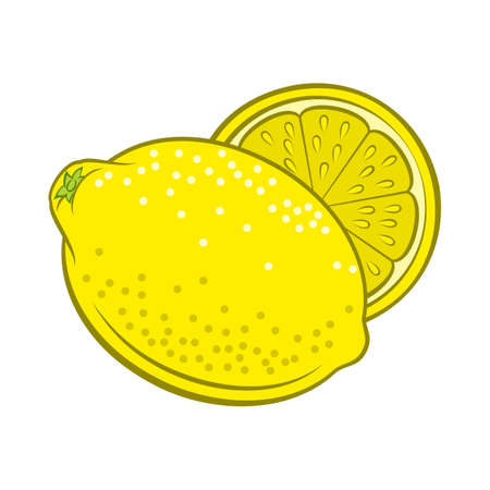 Illustration of Colorful Juicy Stylized Whole and Half Lemon. Icon for Food Apps and Stickers Isolated on a White Background