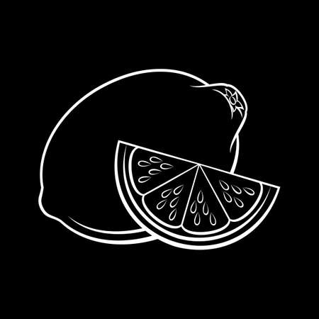 Illustration of Stylized Whole and Slice Lemon Sketch. Icon for Food Apps and Stickers Isolated on a Blackboard