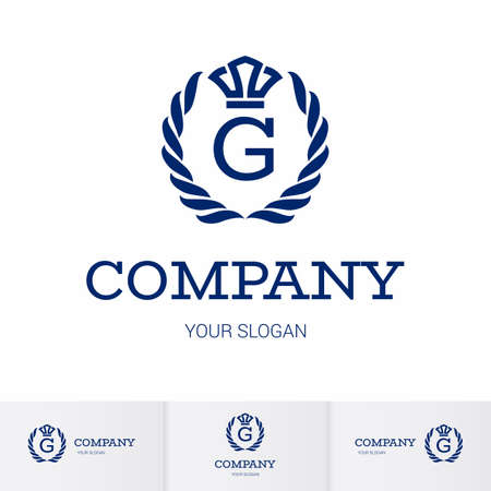Illustration of Luxury Vintage Crest Logo with letter G in the Middle and Luxury Crown. Calligraphic Royal Emblems and Elements Logo Icon Template on White Background