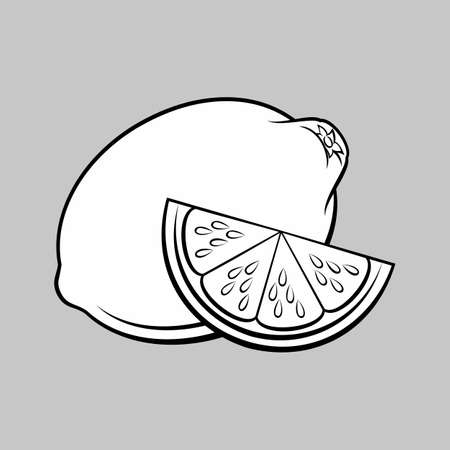 Illustration of Stylized Whole and Slice Lemon. Monochrome Icon for Food Apps and Stickers Isolated on a Gray Background