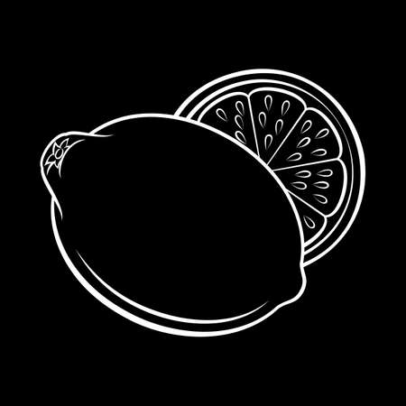Illustration of Stylized Whole and Half Lemon Sketch. Icon for Food Apps and Stickers Isolated on a Blackboard