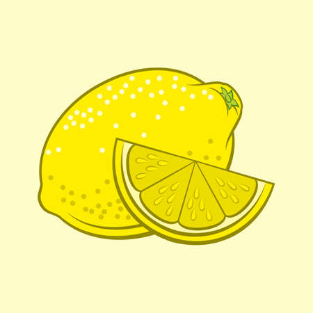 Illustration of Juicy Stylized Whole and Slice Lemon. Icon for Food Apps and Stickers Isolated on a Yellow Иллюстрация