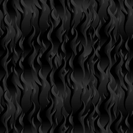 Flame Fire Seamless Pattern Background. Black Digital Background Made of Interweaving Curved Shapes. Seamless Wrapping Paper Pattern
